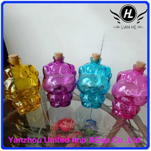 350ml colorful cute cats shape glass wishing bottle with cork