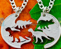 Dinosaur Jewelry, Kids Best Friends Necklaces, T-rex and Triceratops Hand Cut on a Quarter Necklace