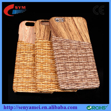 Natural Bamboo Wood Grain Knit Card Slot Hard Back Case Cover For Apple Iphone 6