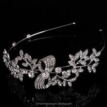 Latest Silver Color Clear Rhinestones Leaf Hair Tiara Accessories Fashion Bridal Bow Hair Band