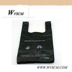 eco friendly custom made dog poop plastic t-shirt bag