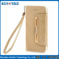 Wallet for iphone case, PU wallet case for iPhone, case with strap hole