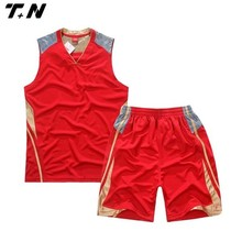 Custom sublimated basketball uniforms wears red