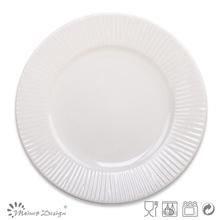 emboss design ceramic dinner salad plate and dish white color stripe decoration