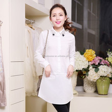 New Ladies Long White Blouse With Beaded Collar Neck CA-2096--8806