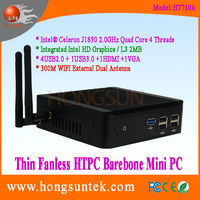 HT710A Intel Celeron J1850 2.0GHz Quad Core 4 Threads Fanless Barebone Mini PC with USB, WiFi and VGA