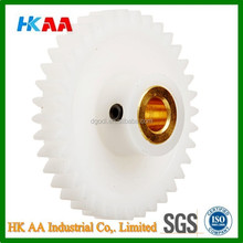 High quality molded plastic / nylon / delrin spur gear with brass inserts