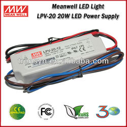 20W 5V 3A Indoor Use Plastic Case Constant Voltage Meanwell IP67 Waterproof LED Power Supply