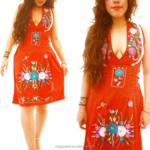 Cheap wholesale slip-on mexican clothing vintage style V neck mexican embroidered dress