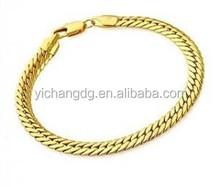 10mm Men's 22K Gold Plated Snake Chain Link Bracelet,Stainless Steel Link Chain jewelry Bracelet