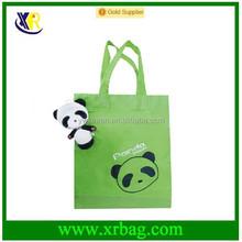 Manufacture provide eco plush doll panda shape animal folding shopping bags