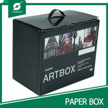 BLACK PACKING FULL PRINTING BOX WITH PLASTIC HANDLE
