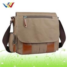 Vintage Leather Cotton Messenger Bag For Mens