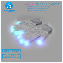 Shenzhen factory White tips party LED Flashing Magical Gloves
