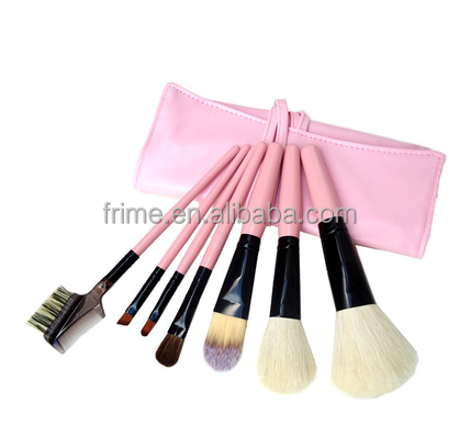 pink hair with goat natural brush brushes makeup set 7pcs natural  makeup cheap pouch hair