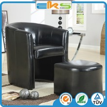 PU PVC LEATHER UPHOLSTERED ROYAL MODERN LIVING ROOM LEISURE FURNITURE SOFA ARMCHAIRS WITH STOOL