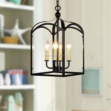 Bird cage indoor decorative black pendant light large wrought iron ceiling lamp