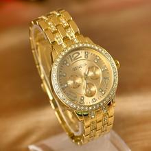 2015 new Geneva fashionable man set auger three-eyed steel band quartz watch business and leisure men's watch