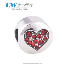 What Is 925 Sterling Silver Round Charms Beads With Red Pave Crystal Sterling Silver Findings