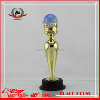 Best workmanship gold metal ball trophy ,red crystal trophies