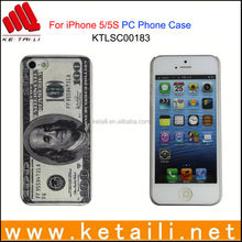 Custom Design Bill Style Plastic Cell Phone Cover for iPhone 5S