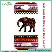 Colorized Tribal Elephant Pattern IMD Smooth TPU Back Case Cover for Alcatel One Touch Pop C7