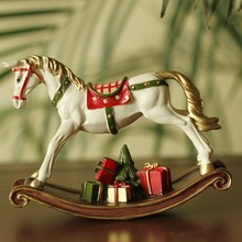 2015 new design colorful resin running horse with gifts wholesale for christmas decor