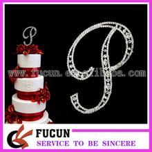 diamantes de imitación 12cm letra p adorno de torta