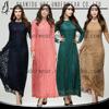 MD10016 Elegant islamic clothing muslim abaya nice design casual dress muslimah gamis long sleeve maxi lace dress patterns