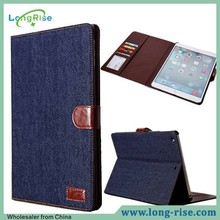Wholesale Jeans Cloth Leather Wallet Flip Smart Wake Sleep Case for iPad Air with Card Holder & Photo Frame