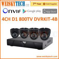 High quality cheap HD 800TVL IR Dome 4ch CCTV Security Camera 4ch D1 DVR Kit 4ch dvr cctv camera system