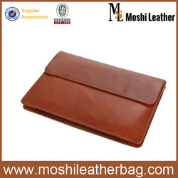 Tan Brown Fine Leather Cowhide Clutch Bags with Elastic Strap 8038