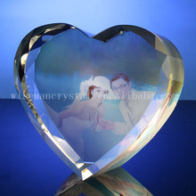 Heart Shape Wedding Photo Color Print Crystal Souvenir