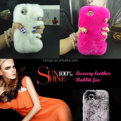Warm real fur rex rabbit Genuine Leather Mosaic Diamond case For iphone 4 4s/5 5s/5c