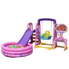 Home and Garden Plastic Swing and Slide Set for Kids