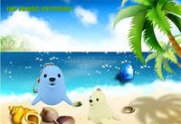 500pcs LED Cartoon Animal Keychain sea lion Keyring with sound LED Flashlight Toy Keychain DHL Freeshipping