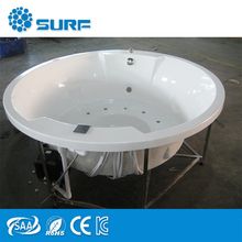 Freestanding LED Light Massage Jets Acrylic White 4 Person TV Massage Hot Tub