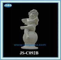 Stone Carving Little Baby Winged Angel Sitting In The Ball Statue