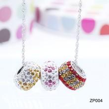 2015 brillante cristal checo pavimenta collares para chicas jóvenes, significativo de los mejores amigo regalo de cumpleaños y pendiente del grano