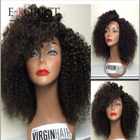 Brazilian silk base full lace human hair wig Afro curly for black women glueless lace front wigs with baby hair in stock