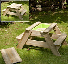 Popular leisure folding BQ Fir wooden sand pit with Nature Color