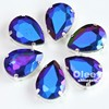 Factory 13*18mm Wholesale Teardrop Sew on Sapphire AB Rhinestone with Claw Setting