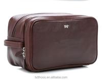 Luxurious custom factory business men's toilet bag kit leather wash bag