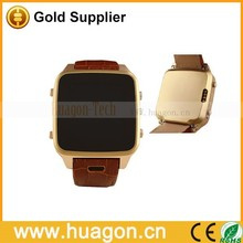 Top Quality Genuine leather watch band 300W camera bluetooth/GPS/WIFI 3G GSM waterproof android smart watch phone