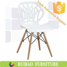 Hot Sale White ABS Dining Chair Wholesale With Wooden Legs