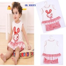 Lovely girl rabbit white sleeveless summer importing baby clothes from china baby clothes factory baby bedding set girlset-tz