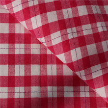 2015 new red white plaid maxi dress fabric made in china