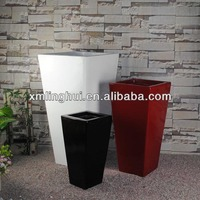 Modern Style Tall And Square Fiberglass Flower Pots