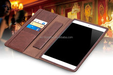 HOT!!!Untra thin and portable leather case for ipad 6 with card holders, 2015 latest leather case for ipad air 2 in brown