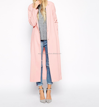 Women Crepe Duster Jacket in Maxi Length New Model 2015/ Two Buttons Fastening Front Long Lady Fashionable Blank Jacket In Pink